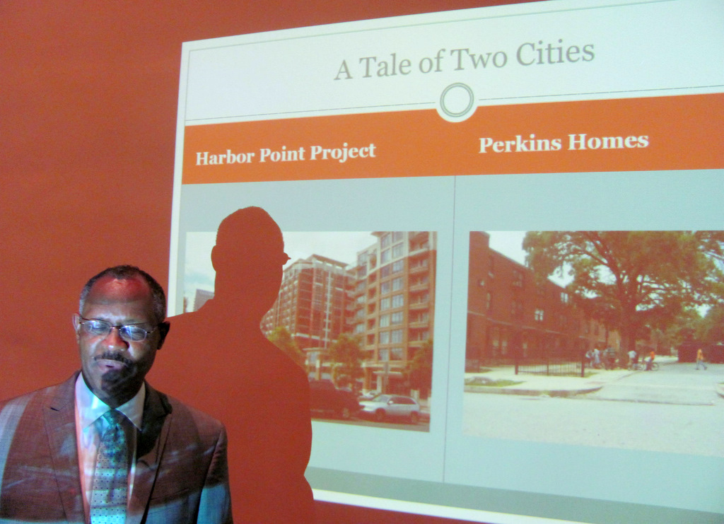 Councilman Stokes describes the disparity between Harbor Point and Perkins Homes