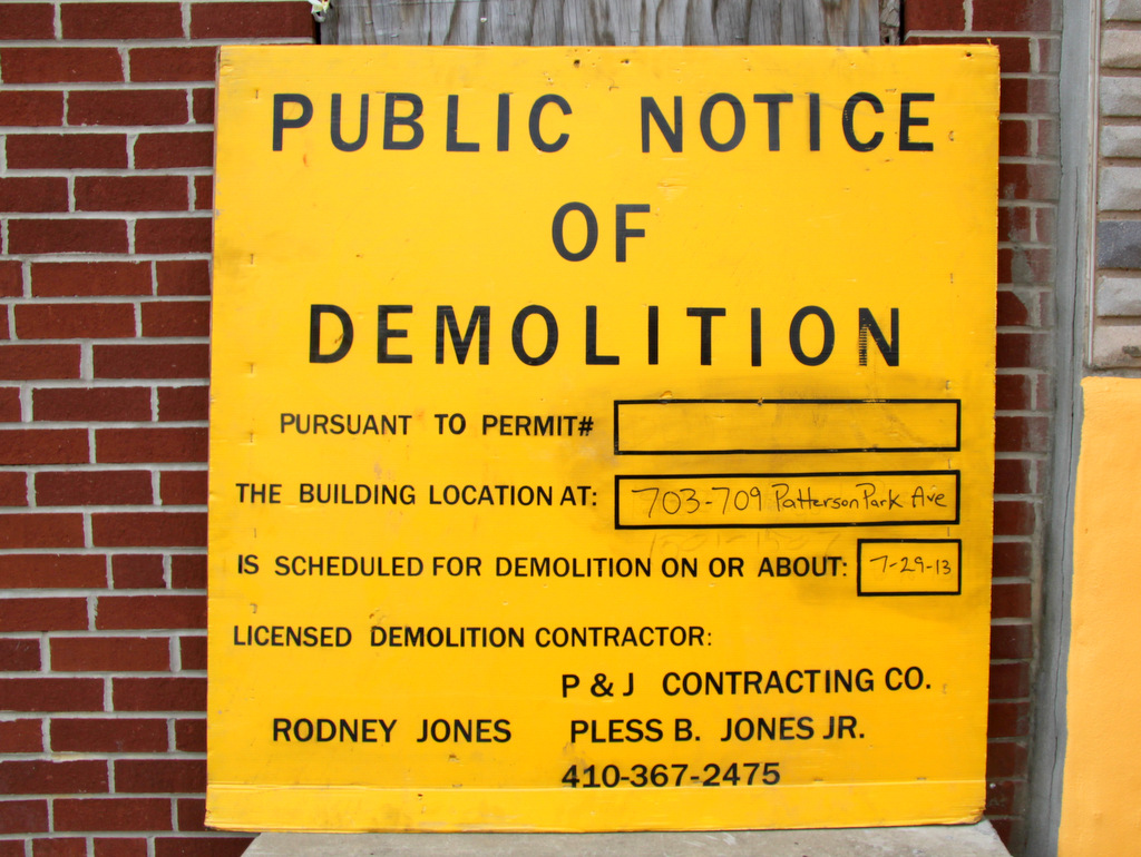 No permit # is cited but the date for demolition is set: