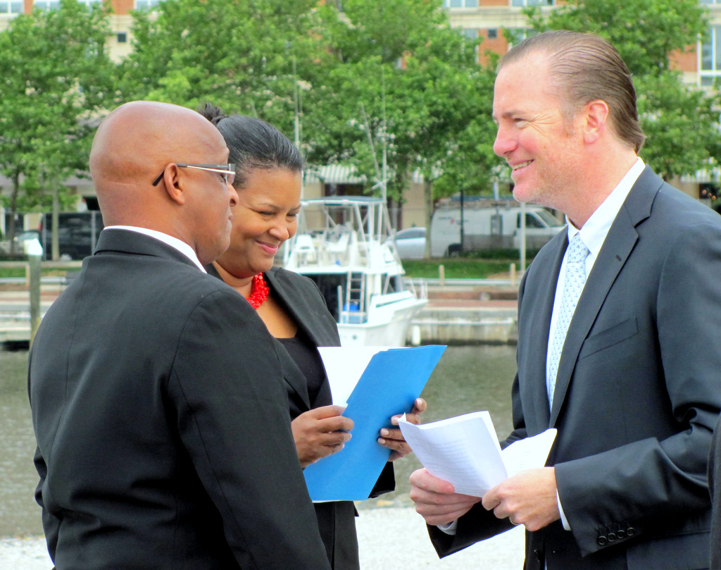 Michael Beatty at a Harbor Point press conference last month with City Council President Jack Young and BDC President Brenda McKenzie. (Photo by Mark Reutter)