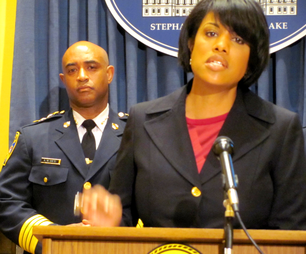 Mayor Rawlings-Blake addressing the issue of violence at a City Hall press conference on June 26, with Police Chief Batts at her right. (Photo by Mark Reutter)