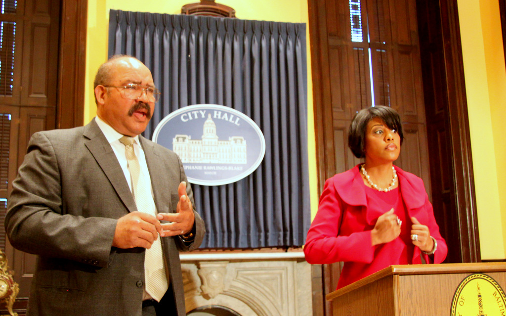 Public Works director Alfred Foxx, with Mayor Stephanie Rawlings-Blake after the meeting. (Photo by Fern Shen)