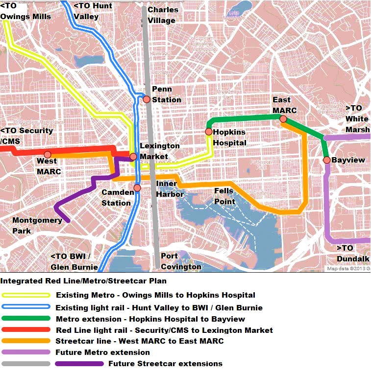 Integrated rail lines that could bring Baltimore transportation into the 21st century. (Gerald Neily)