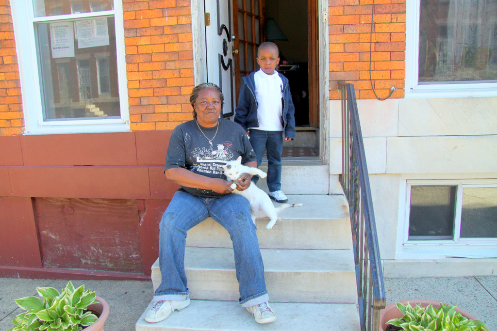 Jeanine Jones, in the East Baltimore neighborhood of Midway, lives among the city's more than 16,000 dilapidated vacants. (Photo by Fern Shen)