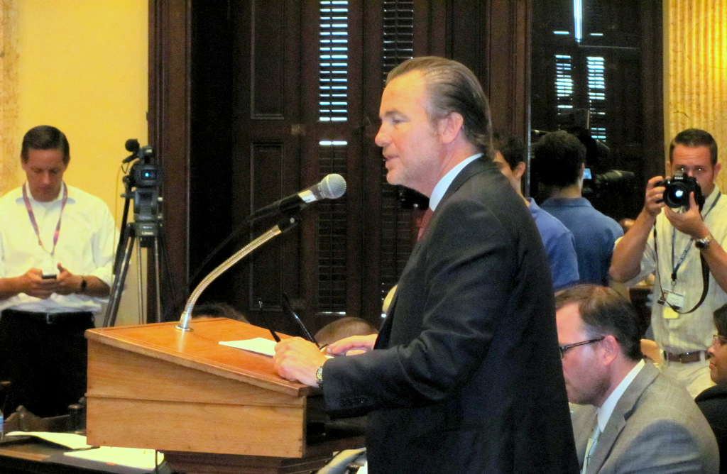 Michael Beatty speaks on the TIF legislation at a City Council hearing last month. (Photo by Mark Reutter)