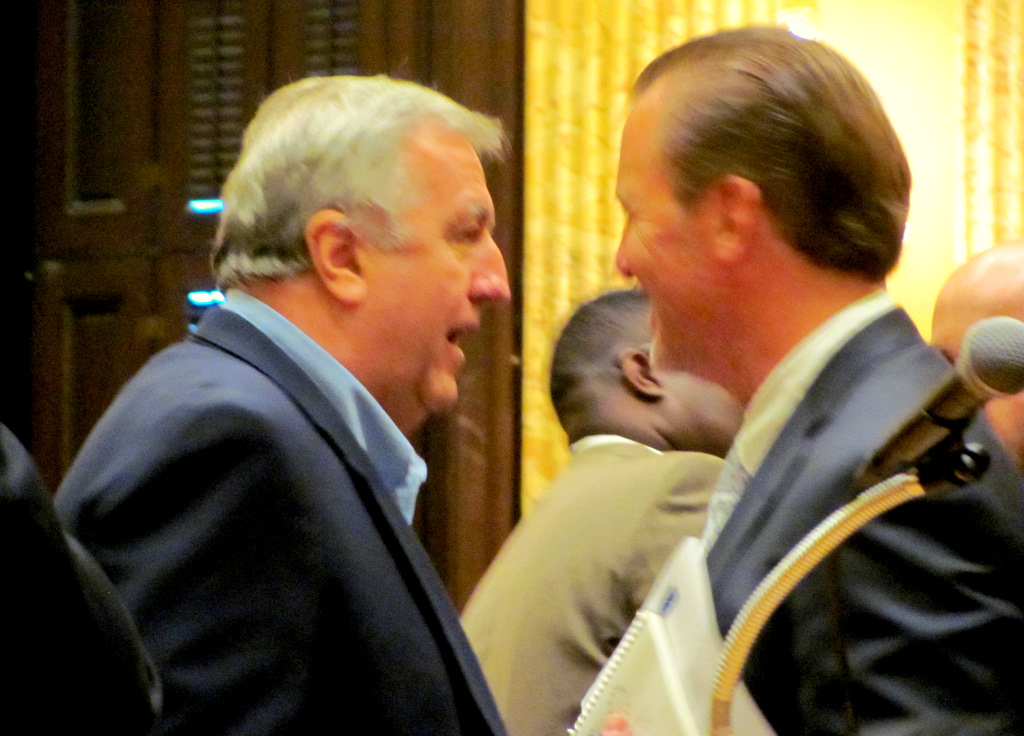 Councilman Reisinger speaks to Micheal Beatty, developer of Harbor Point. (Photo by Mark Reutter)