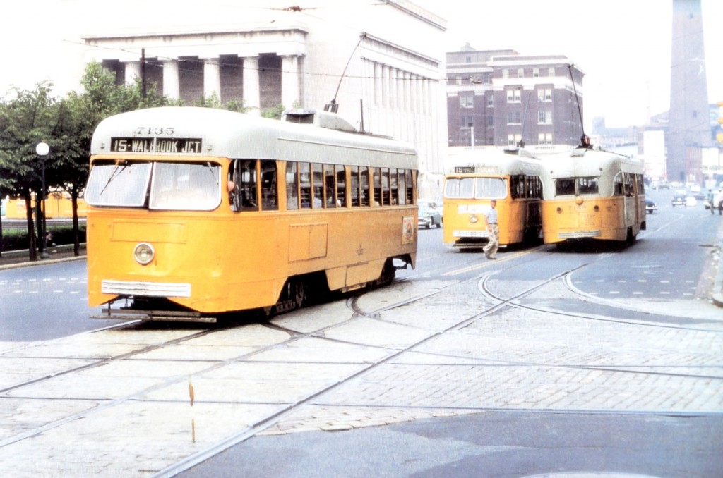 Trolleys congregate at the War Memorial Plaza near City Hall in 1959, part of the city's once extensive surface streetcar system. (E.E. Reutter Collection)