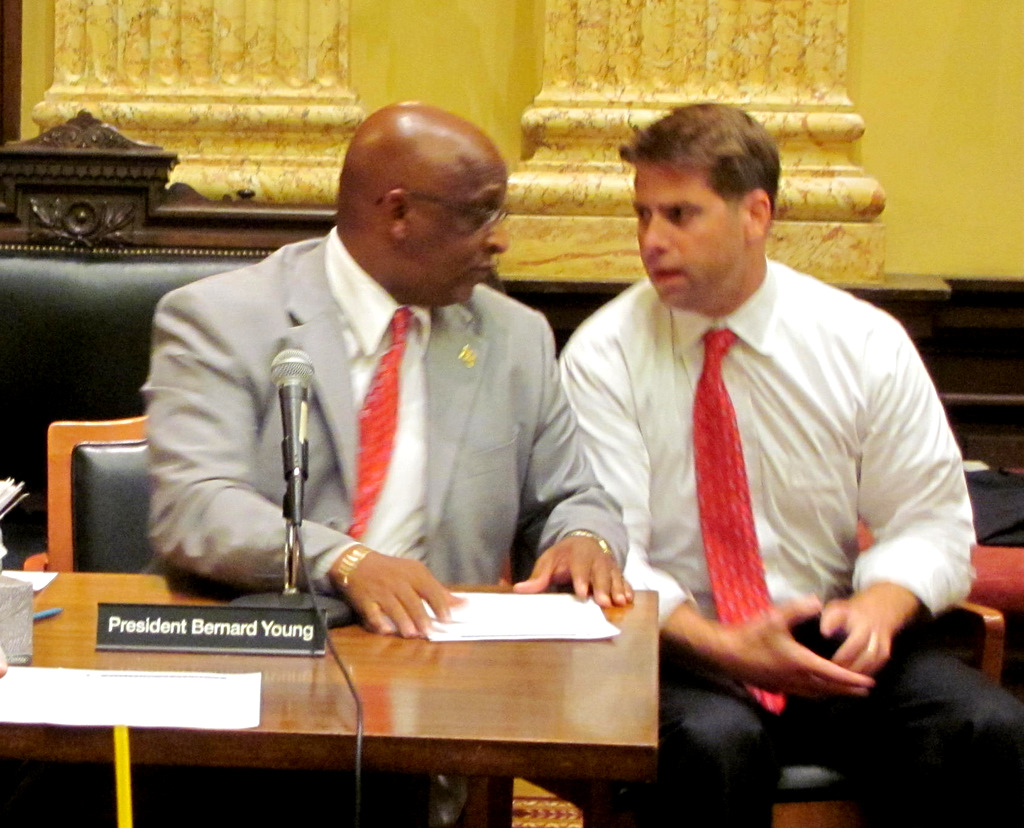 City Council President Jack Young confers with 1st District (downtown, South Baltimore) Councilman Bill Coles. (Photo by Mark Reutter)