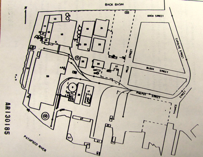 Diagram of the location of the Allied Chemical plant on the western side of Fells Point. The plant, which began operation in 1840, was the biggest chromium processing plant in the world in its heyday. It was shut down in 1985. (Maryland Department of the Environment)