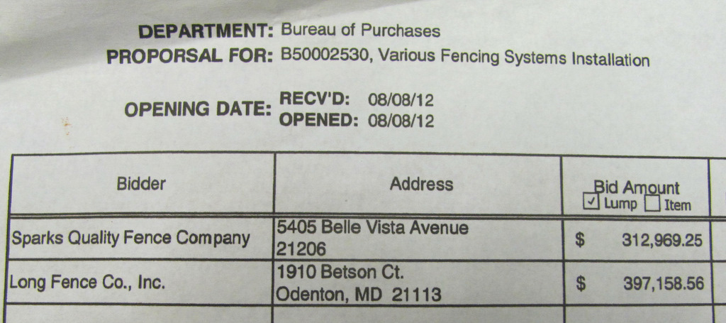 Long Fence was selected by the city despite its bid, 26.9% higher than Sparks Fence. (City Comptroller's Office)