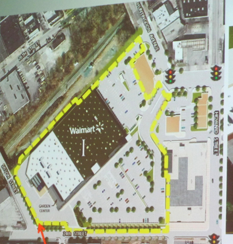 Yellow dotted lines show the 7 acres that Wal_Mart seeks to carve out of 25th Street Station project and buy. (Wal-Mart presentation to UDARP)