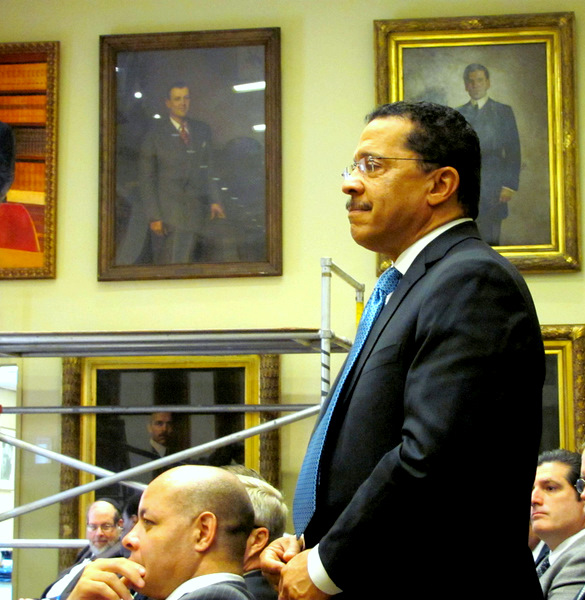 J.P. Grant stands at the Board of Estimates to garner the mayor's praise for agreeing to organize the Grand Prix in 2012. (Photo by Mark Reutter)