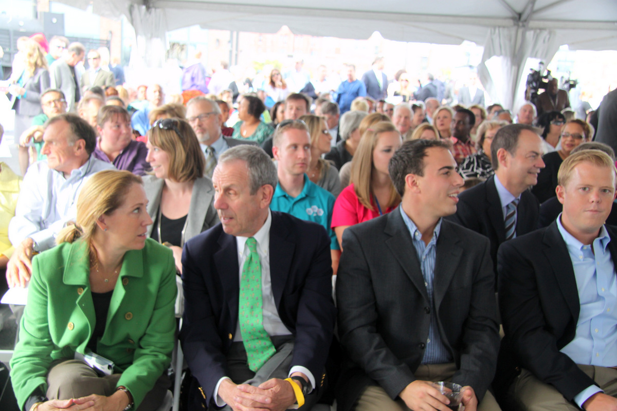 Audience at the Canton Crossing ribbon-cutting ceremony. (Photo by Fern Shen)