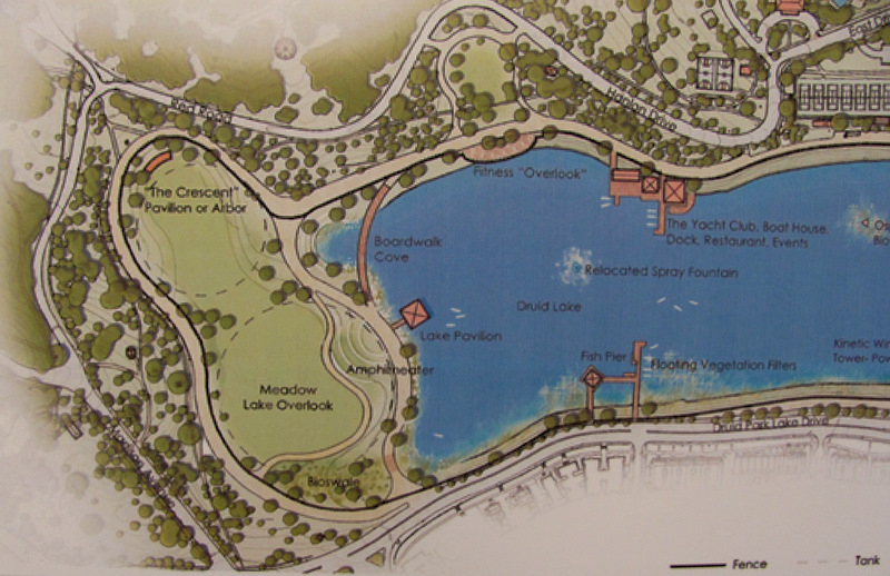 About 10 acres of Druid Lake would be drained for the underground storage tanks, then turned into open space (green area left of the blue water).