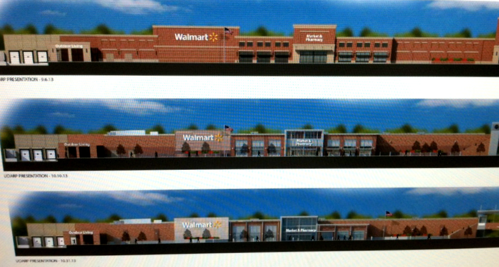 Changes in the front facade of the 25th Street Wal-Mart's. The first design (top) was rejected by UDARP, while  the bottom design was approved today. (Wal-Mart)