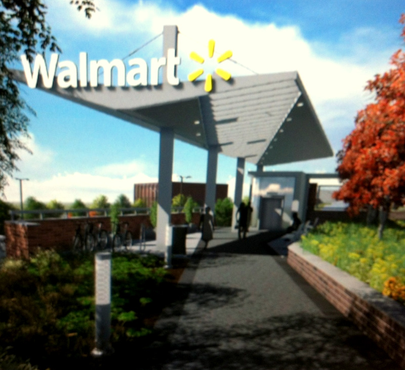 The pedestrian entrance to store (on lower level) from 25th Street and Huntingdon Avenue. (Wal-Mart)