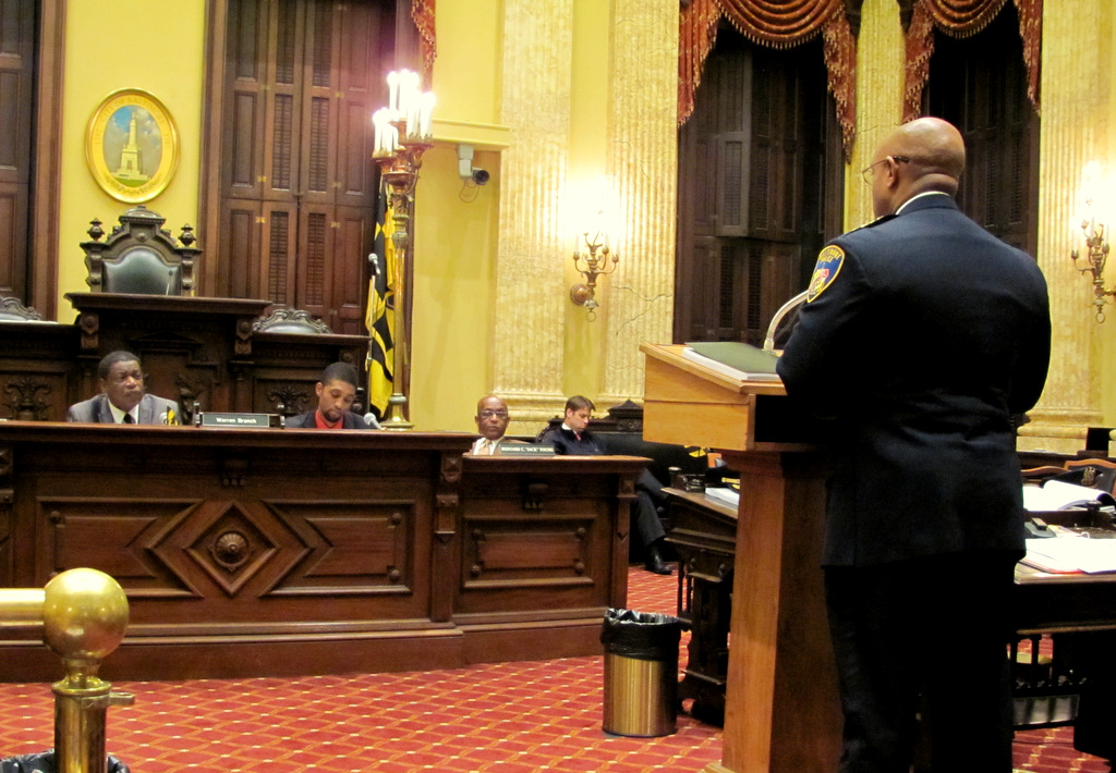 Police Commissioner Batts addressing the Public Safety Committee. From left: Warren Branch, Brandon M. Scott, Jack Young and William H. Cole IV. (Photo by Mark Reutter)