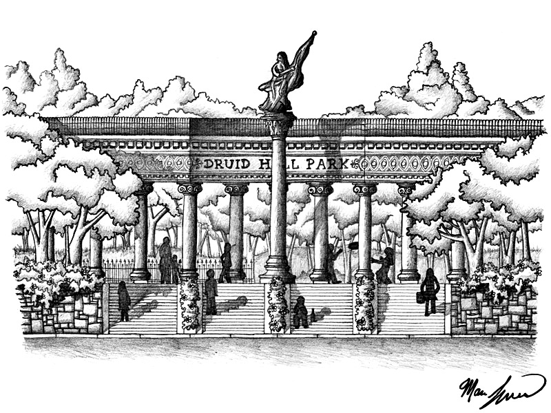 A drawing of a pedestrian-oriented entranceway from Eutaw Place into the park. A street portico where traffic goes through is also possible. (Marc Szarkowski)