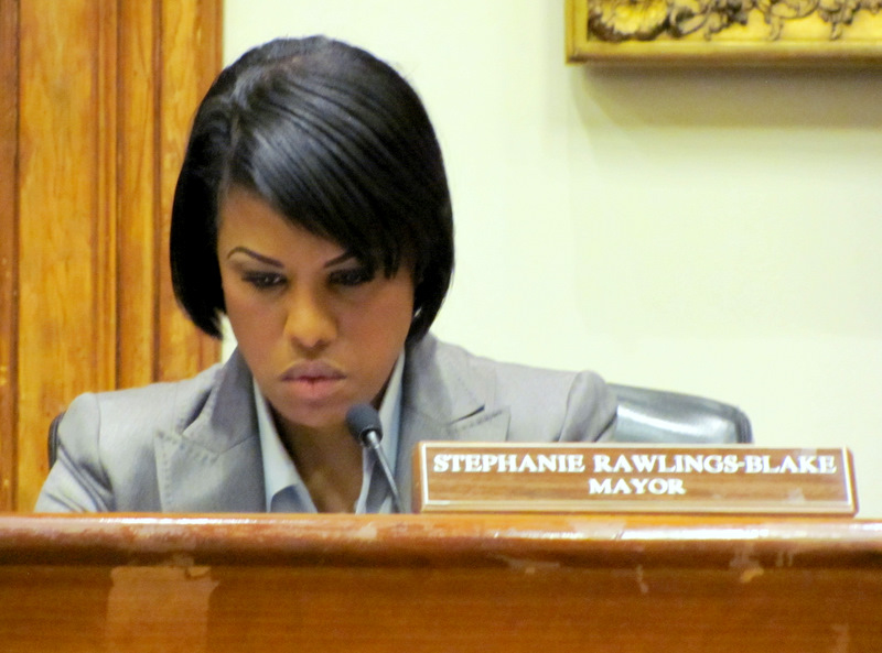 Mayor Rawlings-Blake was silent but not unaware of the unfolding drama at Wednesday's board meeting. (Photo by Mark Reutter)