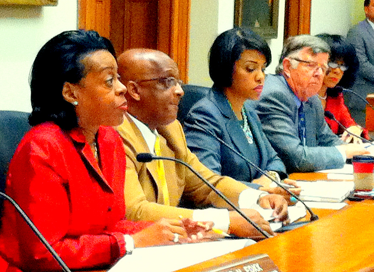 Joan Pratt, Jack Young, Stephanie Rawlings-Blake and George Nilson at today's meeting of the Baltimore City Board of Estimates.