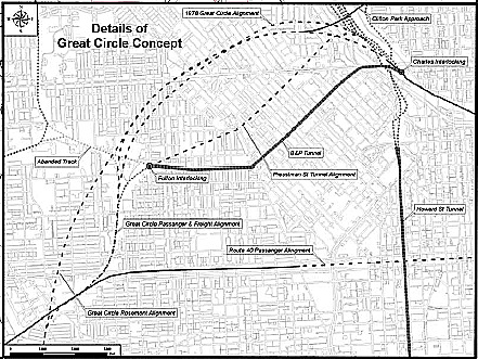 Map of current B&P Tunnel (solid line) and potential alternatives. From a 2005 Report to Congress,