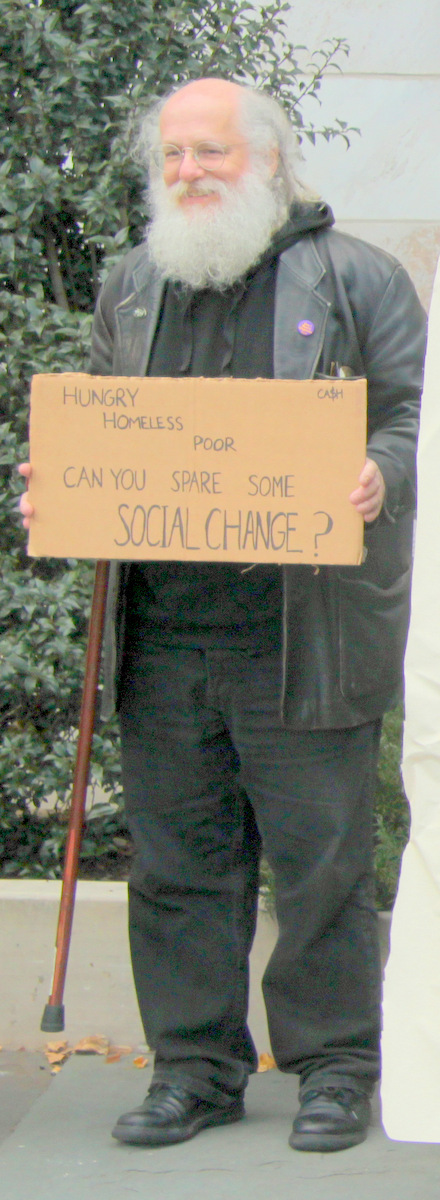 Former Healthcare for the Homeless director Jeff Singer atyesterday's panhandling ban protest. (Photo by Fern Shen)