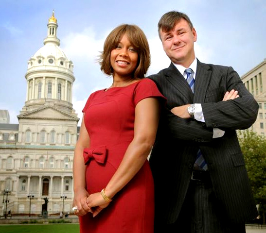Lisa Harris Jones poses in front of City Hall with her lobbyist husband, Sean Malone. (Harris Jones & Malone)
