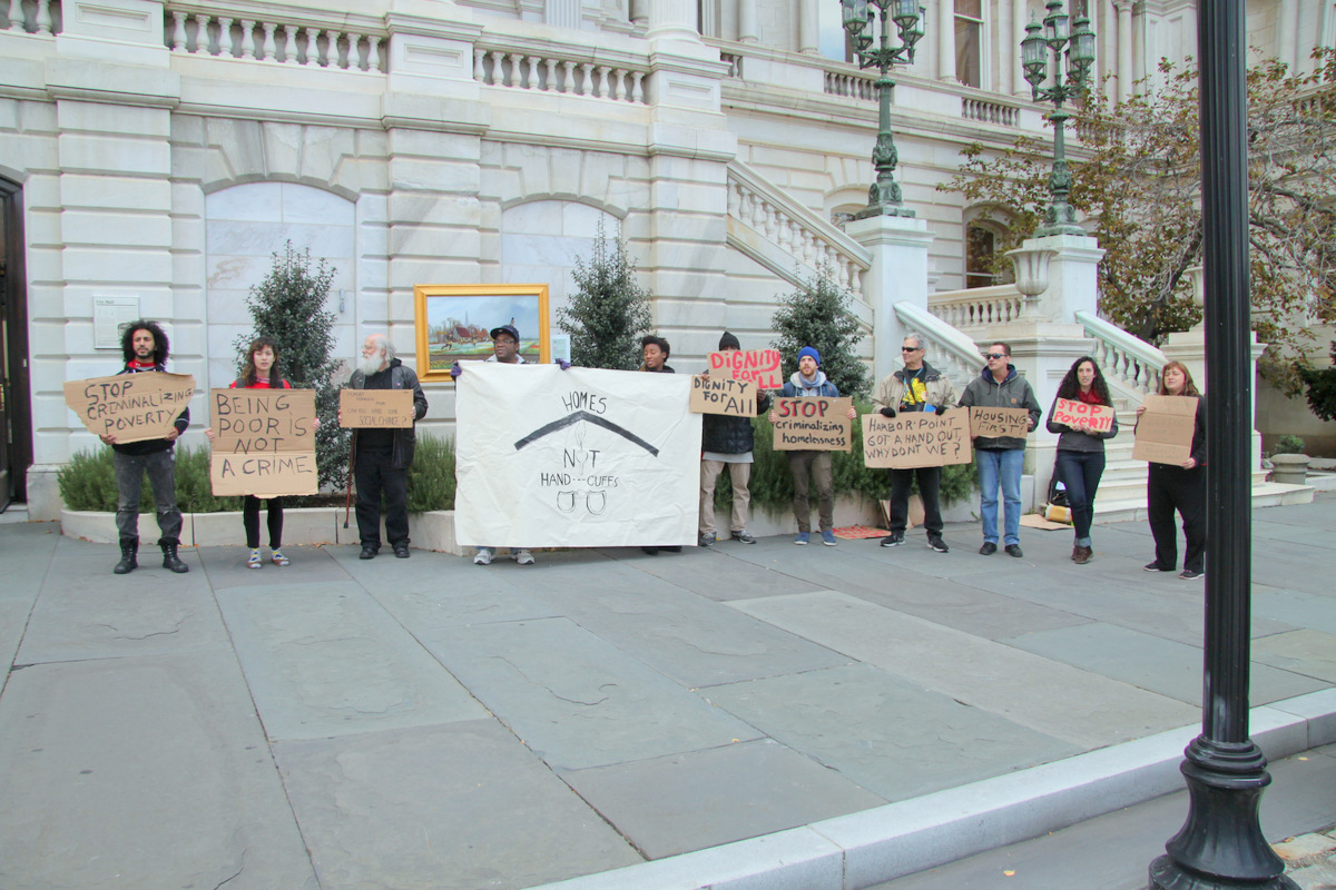 Housing Our Neighbors protesting proposed ban on soliciting in Baltimore. (Photo by Fern Shen)