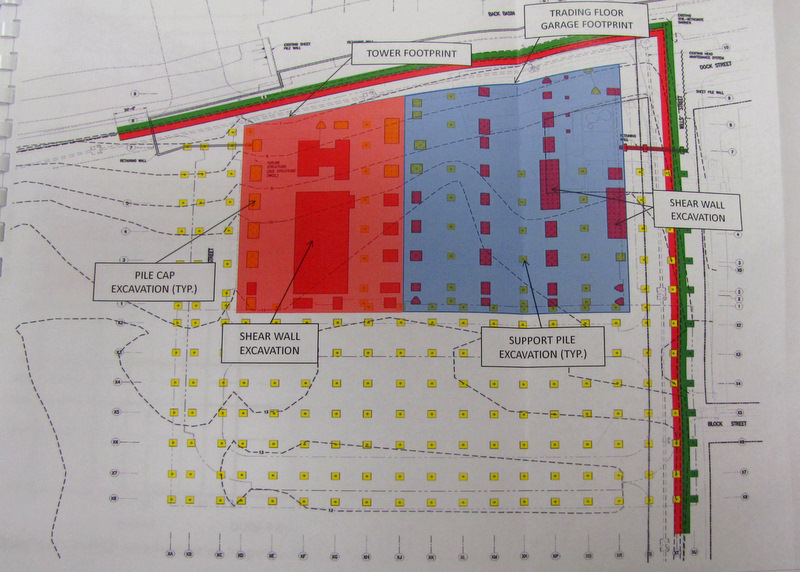 Proposed plan to pierce cap for the foundation (in dark red) pilings (in yellow) for the Exelon Tower. (