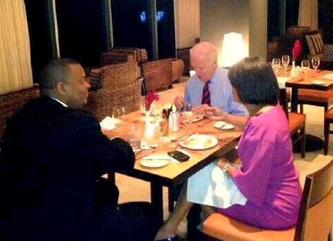 The mayor with Vice President Biden and U.S. Transportation Sec. Anthony Fox. (@MayorSRB Twitter)
