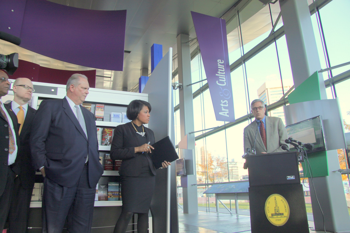 Jack Young, Tom Noonan, Don Fry and Stephanie Rawlings-Blake atnews conference for Inner Harbor redesign. (Photo by Fern Shen)