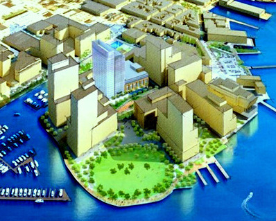 Artist rendering of Harbor Point, at the western edge of Fells Point, with the Exelon Tower shown in blue. (Beatty Development Group)