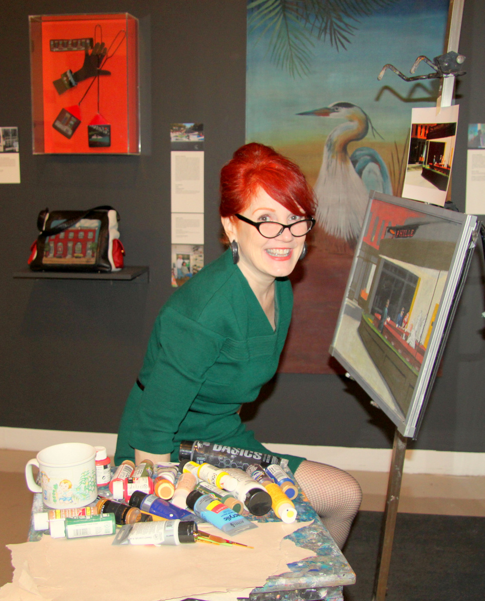 Screen painter Jenny Campbell of New Orleans (by way of Essex) gave a demonstration Sunday. (Photo by Fern Shen)