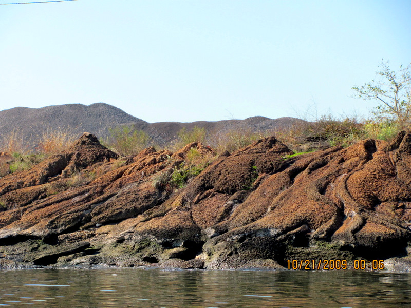 Decades of slag dumping (slag is a waste product of steel) have resulted in these eroded hillsides along the Patapsco River. (Photo by Mark Reutter, 2009)