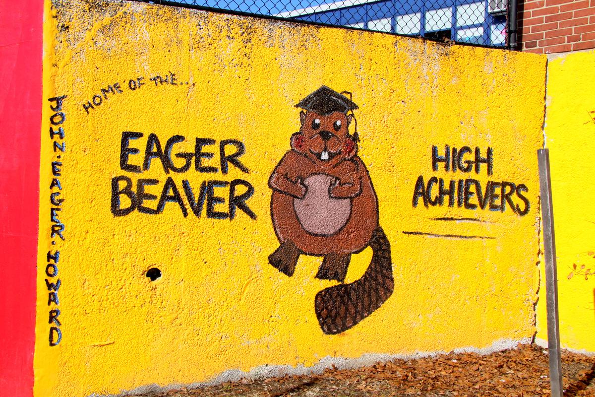 School mascot mural outside John Eager Howard Elementary School in Baltimore. (Photo by Fern Shen)