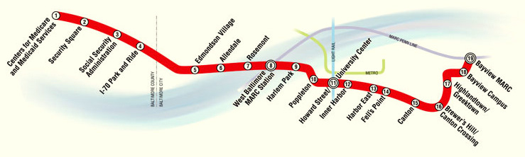 Route of the Red Line, which is currently planned between Woodlawn in Baltimore County and Johns Hopkins Bayview and includes 19 stations and almost five miles of tunneling. (MTA)