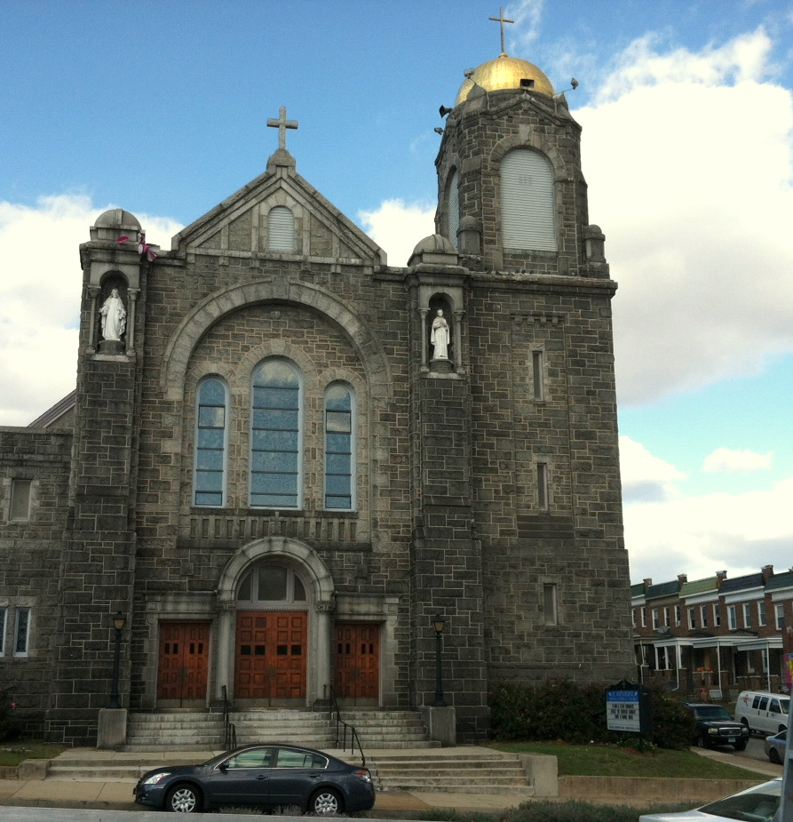 St. Bernardine Church, a landmark on the 3800 block of Edmondson Avenue, is not expected to be impacted by the Red Line's right-of-way. (Photo by Mark Reutter)