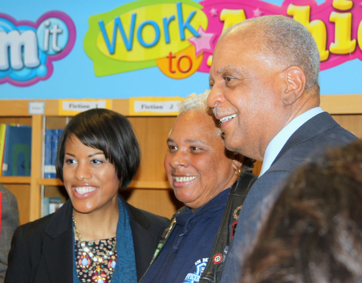 Mayor Rawlings-Blake with the candidate she backed for Baltimore City Public Schools CEO, Gregory E. Thornton.