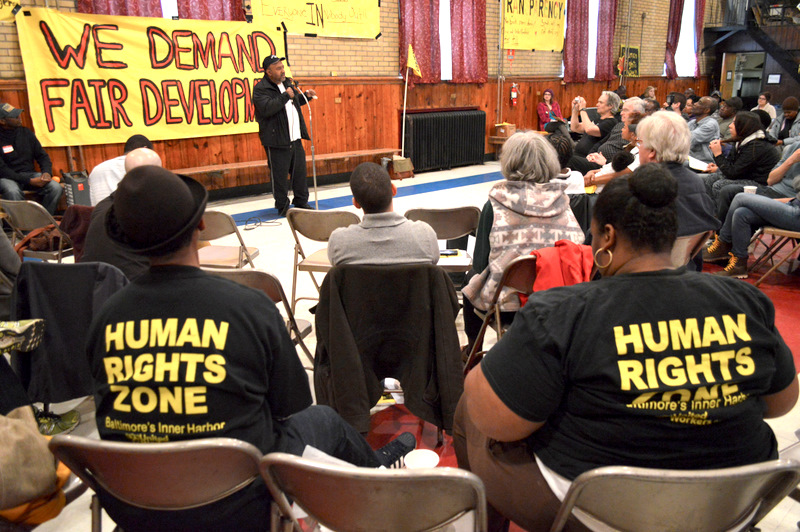 Leon Purnell , director of the Men and Family Center in East Baltimore, addresses yesterday's gathering. (Courtesy of United Workers)