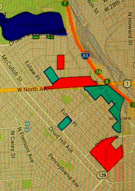 The Mt. Royal neighborhoods stretch from midtown to Druid Hill Park. Among slated improvements: expansion of the Maryland Institute of Art along Mt. Royal Avenue, rebuilding the State Center (below right) and redeveloping North Avenue between Mt. Royal and Eutaw Place (in red).