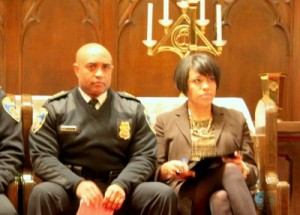 Police Commissioner Anthony Batts and Mayor Stephanie Rawlings-Blake waiting to speak at a meeting about crime in Highlandtown.