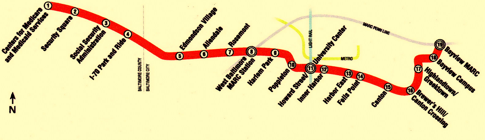 The proposed Red Line between Woodlawn and Bayview would have 19 stations and 26 rail cars. (Maryland Transit Administration)