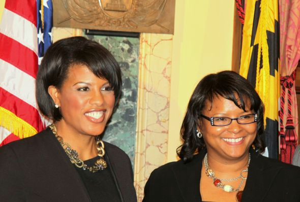 Brenda McKenzie with Mayor Rawlings-Blake after her appointment as BDC president. (Photo by Fern Shen)