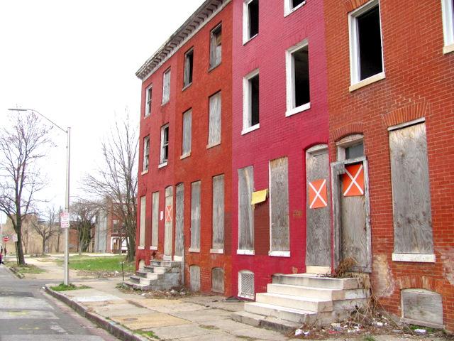 Vacant houses on Carrollton Avenue near Franklin Square. (Mark Reutter)