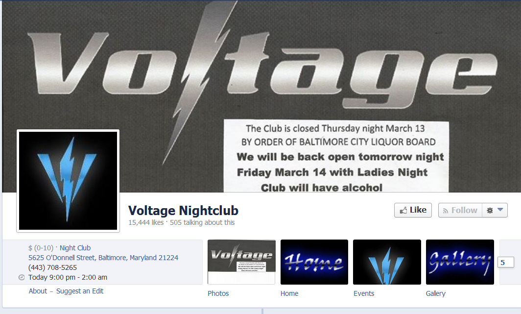 How the Voltage Facebook page looked Thursday.