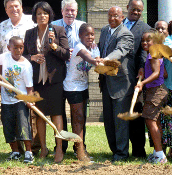 Young and Mayor Rawlings-Blake break ground at the Rita R. Church Rec Center in Clifton Park in 2011. (File photo)