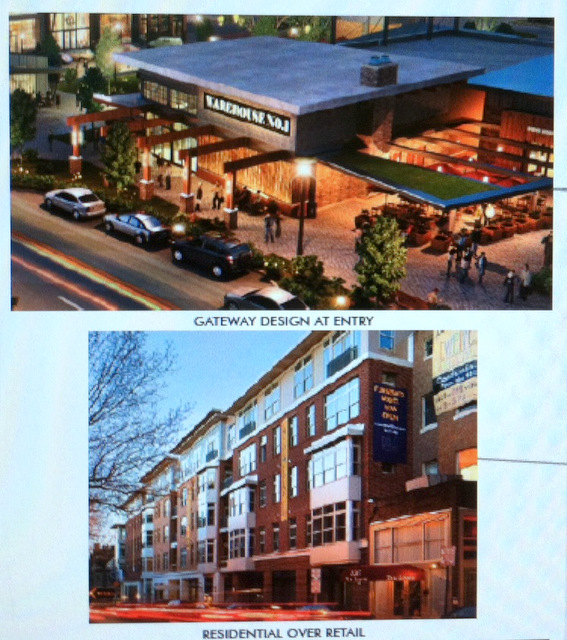 An artist's rendering of how the retail outlets and apartment buildings may look along the development's main street. (MCB Real Estate)