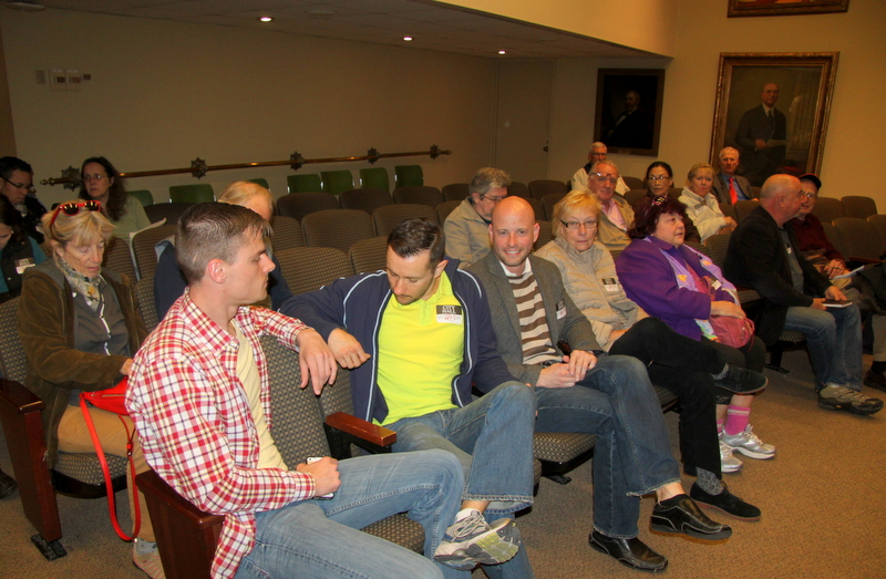 Opponents of the license transfer for Bristol Liquors at yesterday's Liquor Board hearing. (Photo by Fern Shen)