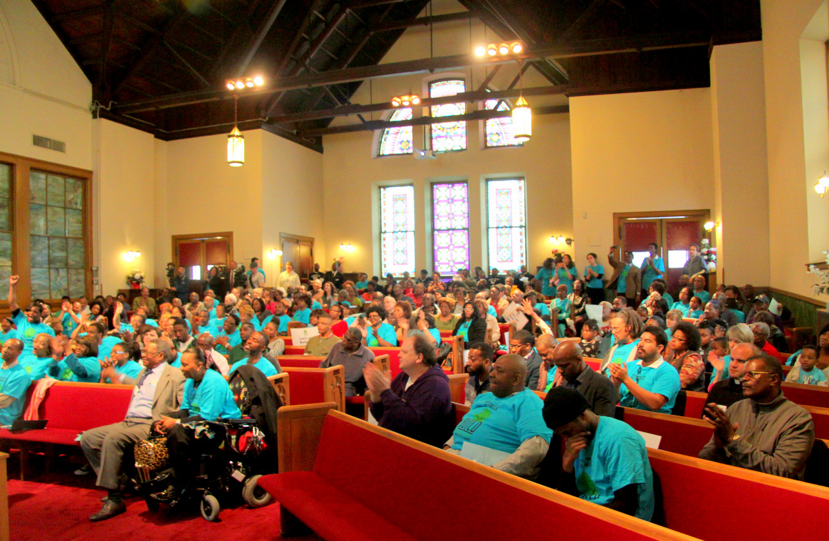 Crowd at Memorial Baptist Church called on the Mayor to fund a jobs program. (Photo by Fern Shen)