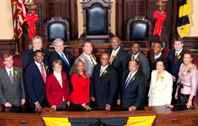 Official portrait of Baltimore City Council.  First row center is