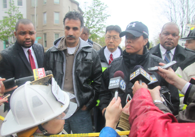 Mayor Stephanie Rawlings-Blake briefs the media on 26th Street road collapse. (Photo by Fern Shen)